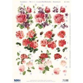 3D pre-cut A4 sheet: roses, fuchsias