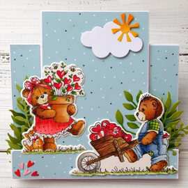 Cottage Cutz NEW Stamping template + stamp: Bear with wheelbarrow