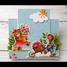 Cottage Cutz NOUVEAU timbre pochoir estampé +: ours avec brouette