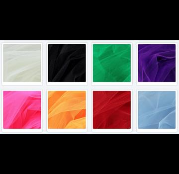 et sæt med 8 x dekorativt tyl, 25 cm x 25 cm i 8 farver!