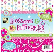 DCWV und Sugar Plum Designerblok, The Blossoms Butterflies, 48 ark, 30,5 x 30,5 cm