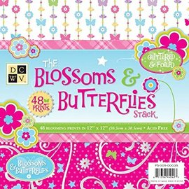DCWV und Sugar Plum Designer Block, The Blossoms Butterflies, 48 Blatt, 30,5 x 30,5 cm