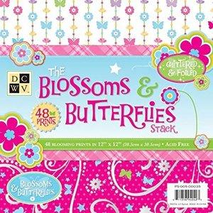 DCWV und Sugar Plum Designerblok, The Blossoms Butterflies, 48 ark, 30,5 x 30,5 cm
