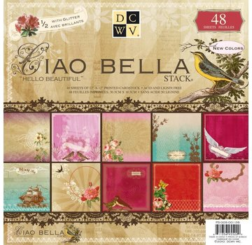 """DCWV und Sugar Plum DCWV, Designer Block, """"Ciao Bella"""", 48 Blatt, 30,5 x 30,5 cm, 1/2 mit Glitter! LETZTE vorrätig!"""
