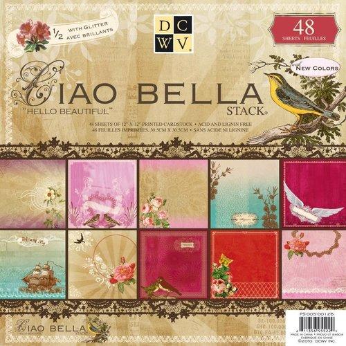 "DCWV und Sugar Plum DCWV, Designer Block, ""Ciao Bella"", 48 vellen, 30,5 x 30,5 cm, 1/2 met glitters!"