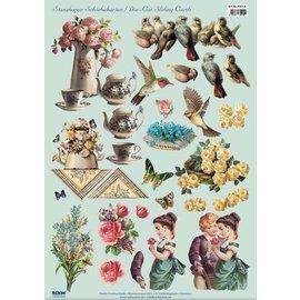 Vintage, Nostalgia und Shabby Shic Skåret ark, A4, vintage motiver