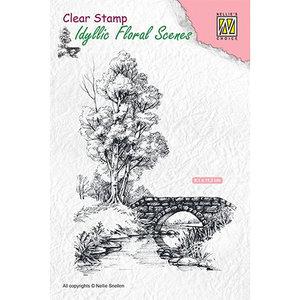 Nellie Snellen Nellie Snellen, motif de timbres, paysage avec eau et pont