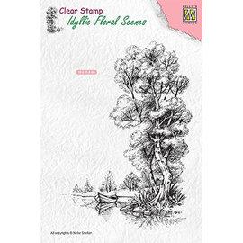 Nellie Snellen Nellie Snellen, motif de timbres, paysage avec eau et bateau