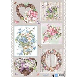 Marianne Design Elaboración con papel: lámina A4 con cuadros, ramos.