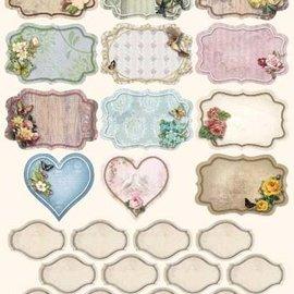 Embellishments / Verzierungen Hoja de punzonado con 25 etiquetas / etiquetas.