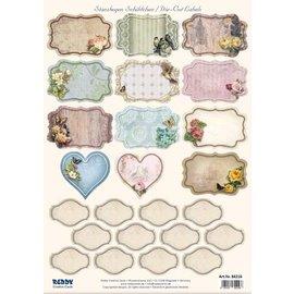 Embellishments / Verzierungen NEU! Stanzbogen mit 25 Schildchen / Labels