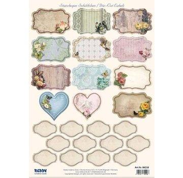 Embellishments / Verzierungen Stanseblad med 25 etiketter / etiketter