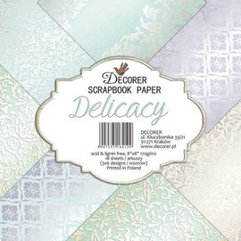 decorer Cards and Scrapbook Paper Block, Decorer In Pastel Colors, 20x20 cm