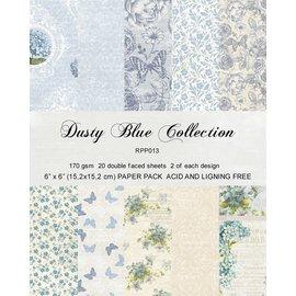 "Karten und Scrapbooking Papier, Papier blöcke Kaart- en plakboekblok, 15,5 x 15,5 cm ""Dusty Blue"""