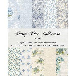 """Karten und Scrapbooking Papier, Papier blöcke Bloc de papier pour cartes et scrapbook, 15,5 x 15,5 cm """"Bleu poussière"""""""