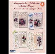 """BASTELSETS / CRAFT KITS Komplettes Bastelpackung: für 4 Romantische Faltkarten """"Antike Rosen"""" A6"""