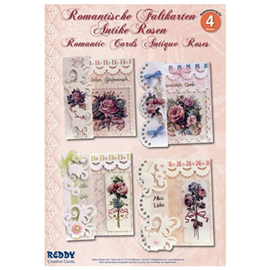 "BASTELSETS / CRAFT KITS Kit completo de elaboración: para 4 tarjetas románticas plegables ""rosas antiguas"" A6"