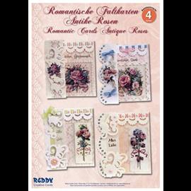 """BASTELSETS / CRAFT KITS Kit de fabrication complet: pour 4 cartes à plier romantiques """"roses anciennes"""" A6"""