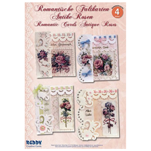 "BASTELSETS / CRAFT KITS Complete crafting kit: for 4 romantic folding cards ""antique roses"" A6"