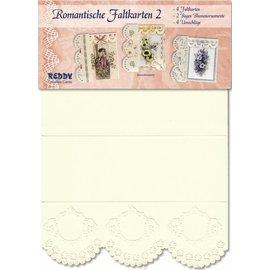 KARTEN und Zubehör / Cards 4 Romantische blanco Faltkarten Nr 2 - LETZTE VERFÜGBAR