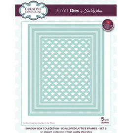 Tonic Studio´s Cutting dies:  Creative Expressions Stanzschablone Shadow Box – Scalloped Lattice Frames Set