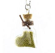 Embellishments / Verzierungen 2 mini glasflasker med kil og hænger.