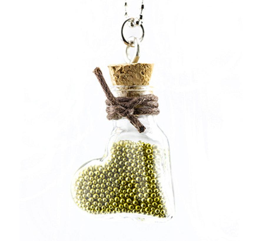 2 mini-glazen flessen met wig en hanger.