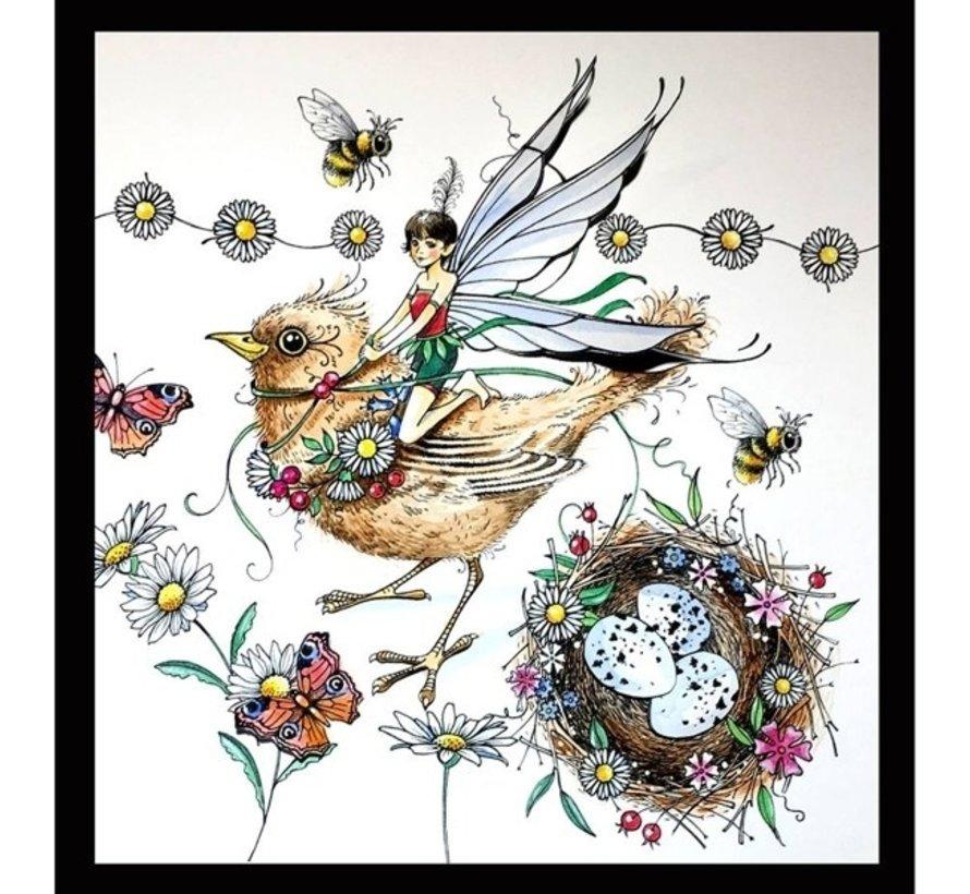 Stempel, A5, vogel magisch mooi!