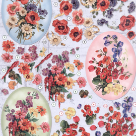 Bilder, 3D Bilder und ausgestanzte Teile usw... A4 Stanzbogen,  3D, Blumen