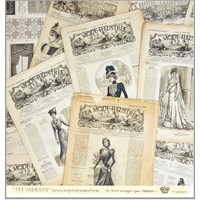 "LaBlanche,  Designpapier 30,5 x 30,5 cm,  ""La Mode Illustree"""