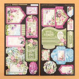 GRAPHIC 45 Grafisk 45, Bloom-etiketter og veske