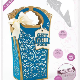 Tonic Studio´s Cutting dies: Book Maker,  Dimensions - Crochet Lace Gift Bag - 2120E