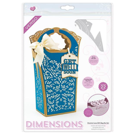 Tonic Cutting dies: Book Maker,  Dimensions - Crochet Lace Gift Bag - 2120E