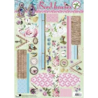 Vintage, Nostalgia und Shabby Shic A4 sheet with pre-punched motifs, for designing a Deco Birdhouse Vintage