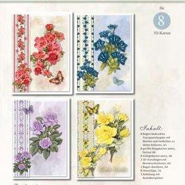 BASTELSETS / CRAFT KITS Bastelset: cartes de fleurs avec calque et poèmes (en allemand)