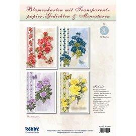 BASTELSETS / CRAFT KITS Håndverkssett: for utforming av 8 blomsterkort med sporingspapir og dikt (på tysk)