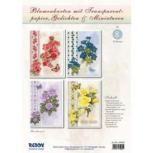 BASTELSETS / CRAFT KITS Bastelset: bloemenkaarten met calqueerpapier en gedichten (in het Duits)