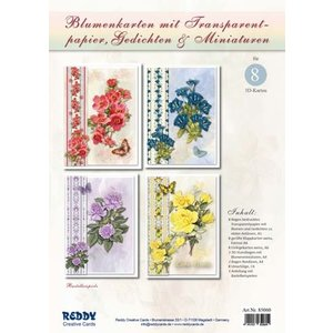 BASTELSETS / CRAFT KITS Bastelset: flower cards with tracing paper and poems (in German)
