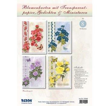 BASTELSETS / CRAFT KITS Bastestole: Blomsterkort med sporpapir og digte (på tysk)