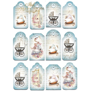 Embellishments / Verzierungen A4-ark med etiketter, 250 g, tema baby