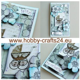 Embellishments / Verzierungen Feuille A4 avec étiquettes, 250 g, thème bébé