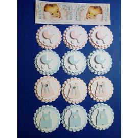 Embellishments / Verzierungen Baby Dekorasjoner, 3D, 12 stykker!