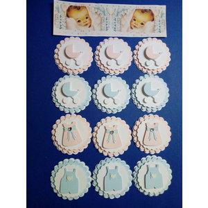 Embellishments / Verzierungen Baby udsmykninger, 3D, 12 stykker!