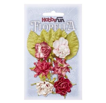 Embellishments / Verzierungen Fiori e foglie, 6 pezzi, fiori circa 3 cm