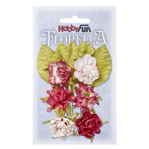 Embellishments / Verzierungen Flowers and leaves, 6 pieces, flowers about 3 cm