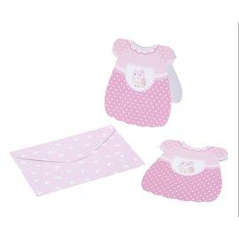 BASTELSETS / CRAFT KITS 6 baby pige kort + konvolut, størrelse ca. 12 cm