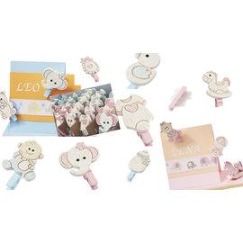 Embellishments / Verzierungen Babybøjler, 10 forskellige motiver, i valg babyrosa eller babyblå
