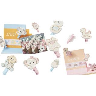 Embellishments / Verzierungen Baby-beugel, 10 verschillende motieven, in selectie babyroze of babyblauw