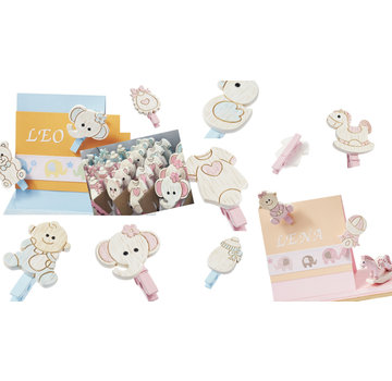 Embellishments / Verzierungen Baby Klammern, 10 diverse Motive, in Auswahl Baby rosa oder Baby blau