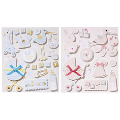 cute 3D stickers, with 12 motifs, baby in selection for girls or boys